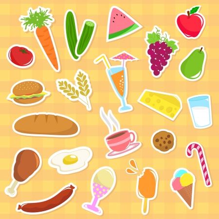collection of foods of major food groups Vector