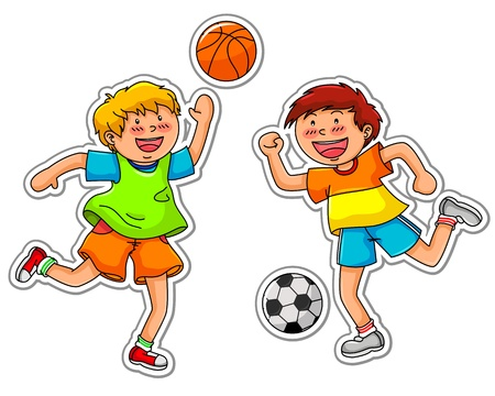 physical education: boys playing basketball and soccer Illustration