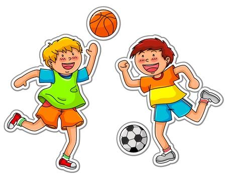 meninos jogando basquete e futebol Ilustração