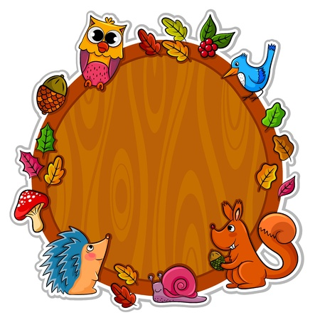 squirrel isolated: wooden bored with animals and plants Illustration