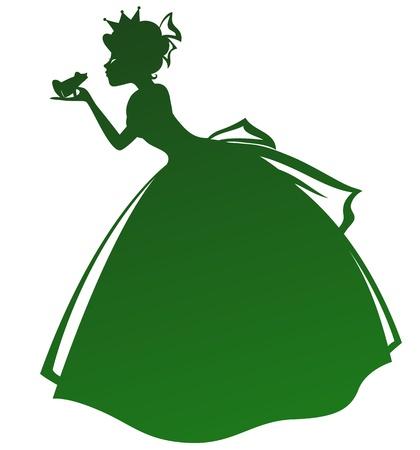 princesa: silueta de una princesa que besa una rana