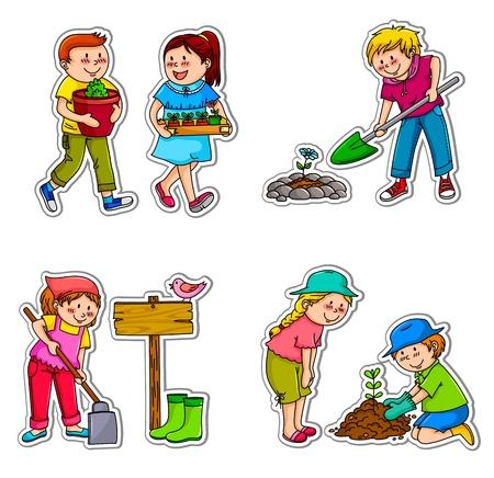 Kinderen planten dingen en het werken in de tuin