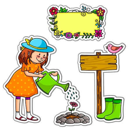 Little girl watering her garden, plus elements for design Vector