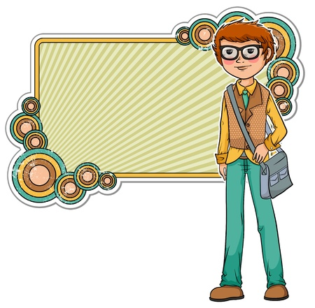 Cartoon geek on a retro style frame  Stock Vector - 16511524