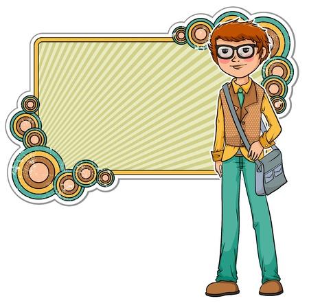 Cartoon geek on a retro style frame Stock Vector - 16511524