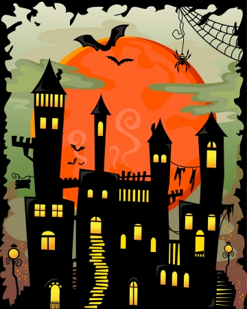 Cartoon halloween haunted castle Vector