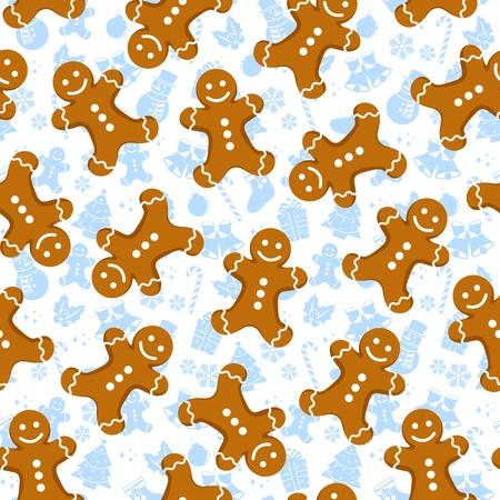 lebkuchen: Nahtlose Muster mit Lebkuchen M�nner und Weihnachts-Icons