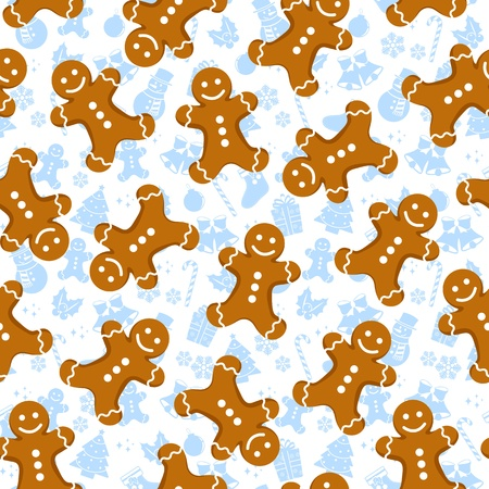 Seamless pattern with gingerbread men and Christmas icons Vector