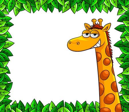 arboles de caricatura: jirafa divertida en un marco de hojas
