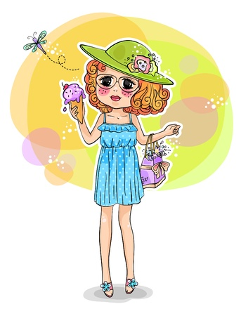 girl in summer dress holding an ice cream Vector