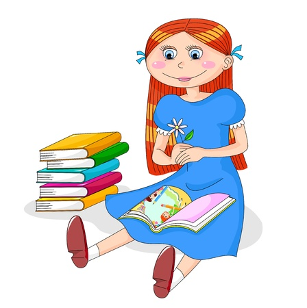 l reading a book next to a pile of books Vector