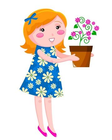 girl holding a flowerpot Stock Vector - 16511071