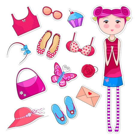 Cute girl next to a collection of girlish things Stock Vector - 16511432