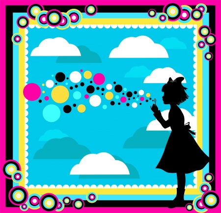 silhouette of a girl playing with soap bubbles in an abstract surrounding Vector