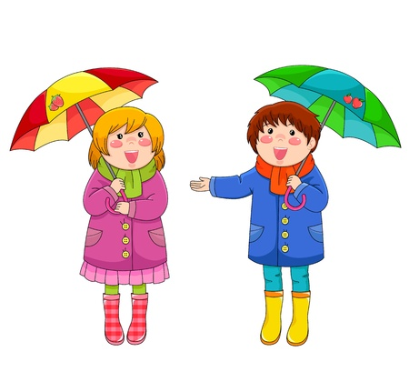 umbrella rain: Two happy little kids standing with their umbrellas