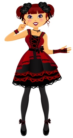 Pretty girl dressed in gothic Lolita style Vector