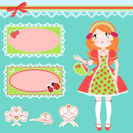 Set of girl in strawberry patterned dress, cute frames and matching design elements Vector