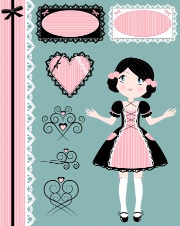 정면: 일치하는 디자인 요소와 빈티지 소녀