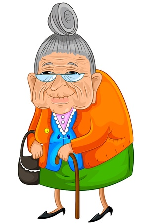 lady: Old lady walking slowly but happily Illustration