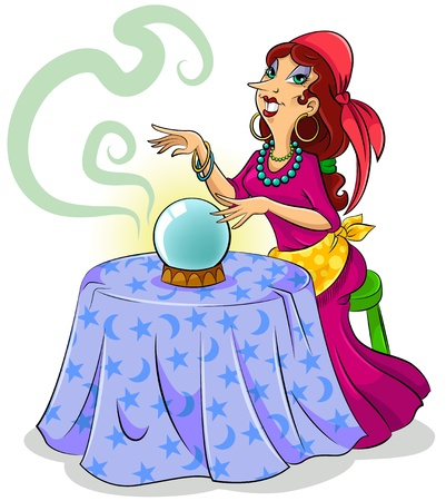 gypsies: Cartoon fortune teller with her crystal ball