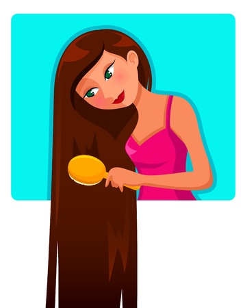 combing: Girl brushing her very long hair Illustration