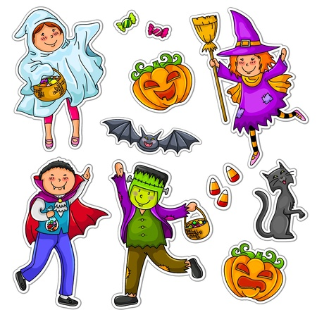 Set of kids wearing costumes and other Halloween symbols Vector
