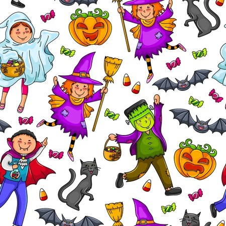 Seamless pattern with kids in Halloween costumes Stock Vector - 16511529