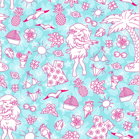 hula girl: Seamless pattern with tropical doodles