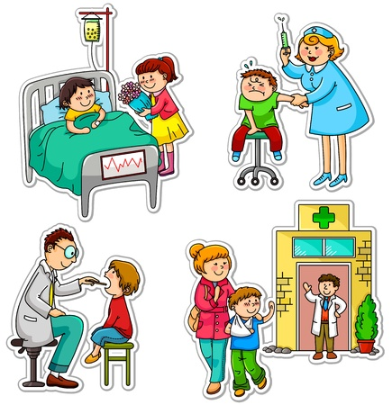 cartoon nurse: Children in different situations related to health and medicine