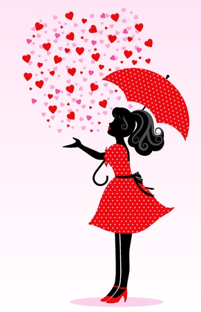 girl in red dress: Silhouette of a girl under a rain of hearts Illustration
