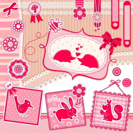 fabric label: Set of cute design elements with animals and vintage style decorations Illustration