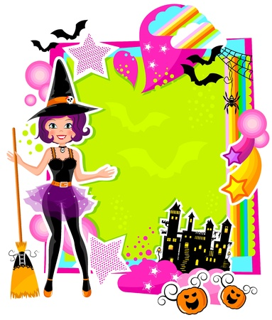 Colorful card with a witch and other Halloween symbols Vector