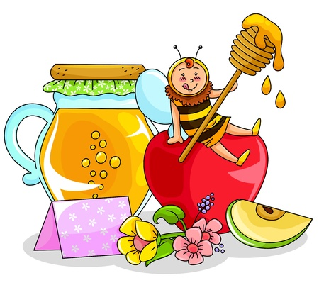 Bee sitting on an apple next to a honey jar Vector
