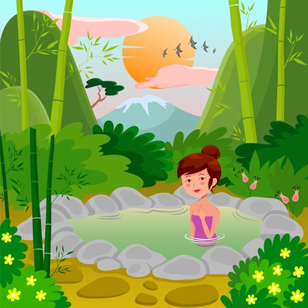 tourist: Pretty girl enjoying a natural hot spring over an asian style view Illustration