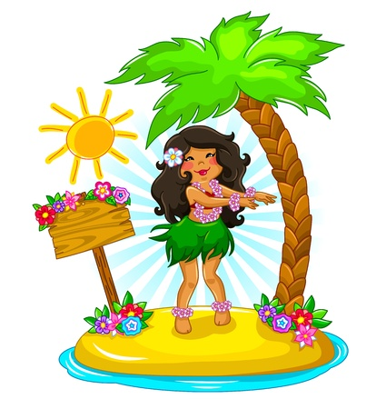 island clipart: Girl dancing hula on a tropical island