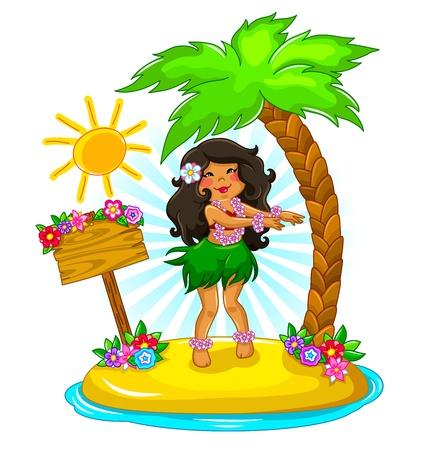 Mädchen tanzen Hula auf einer tropischen Insel Illustration