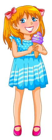 pigtails: Young girl holding ice cream, isolated on white