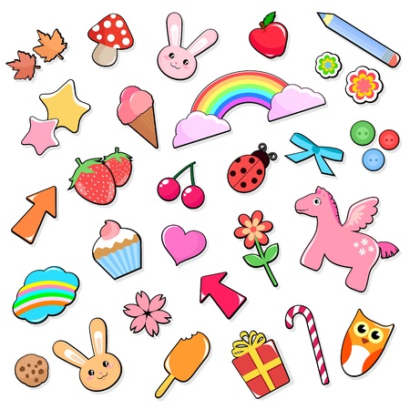 Collection of many cute and colorful icons Vector