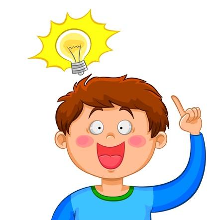id�e lumineuse: Boy � venir avec une bonne id�e Illustration