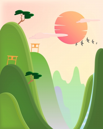 pink hills: Beautiful asian style landscape Illustration