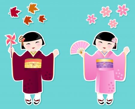 Japanese kimono girl: Cô gái Nhật Bản trong những bộ kimono của mùa thu và mùa xuân