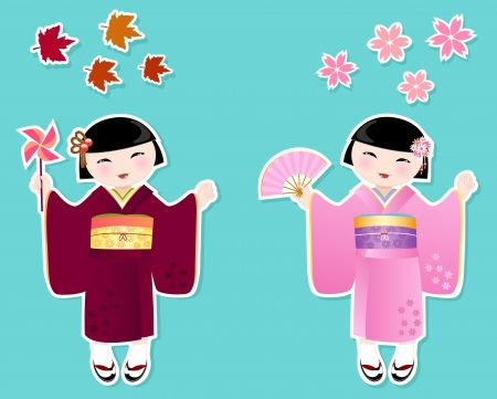 japanese fall foliage: Japanese girls in kimonos of autumn and spring