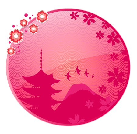 Glossy icon with Japanese view and space for text Stock Vector - 16511555