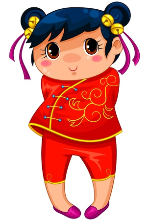 Little chinese girl drawn in manga style Vector