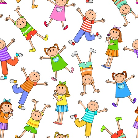 Seamless pattern with happy kids Vector