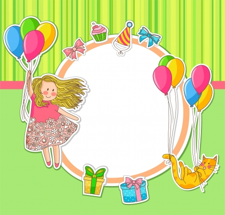 girl happy: Frame decorated with birthday doodles