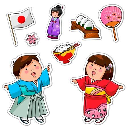 Conjunto de crianças japonesas e símbolos