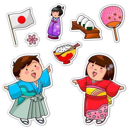japan culture: Set of Japanese children and symbols
