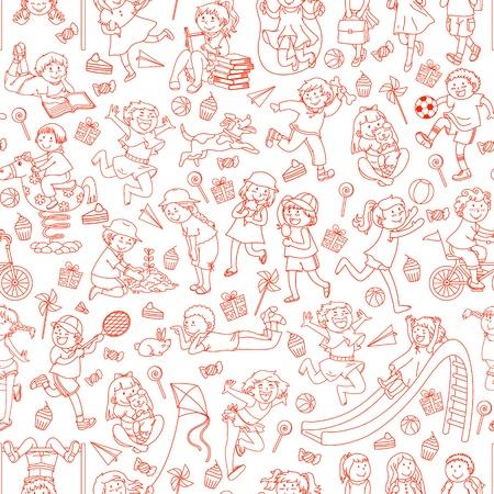 Seamless pattern con scarabocchi dei bambini Vettoriali