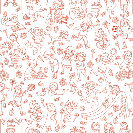 kids reading: Seamless pattern with doodles of children